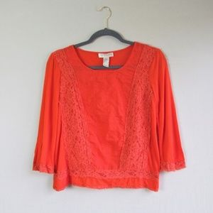Kenar boho red lace viscose cropped blouse